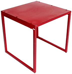 Amazon.com : NACH th-4637-R Vintage Square Table, Red : Patio Side