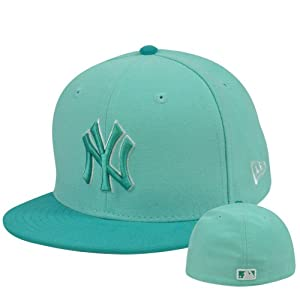 Buy MLB New Era NE 59Fifty 5950 Tint Basic New York Yankees Fitted Hat Cap Teal by New Era
