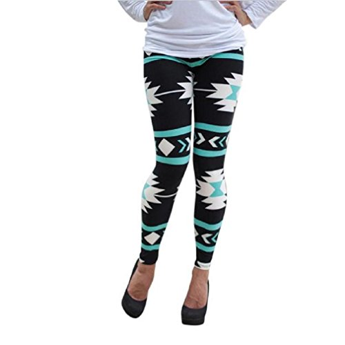 Women Girl Leggings,Morecome Skinny Geometric Print Stretchy Pants Leggings (S)