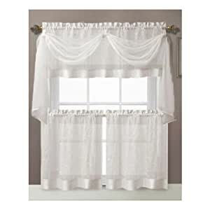 Vine Embroidered Kitchen Window Curtain Set 1