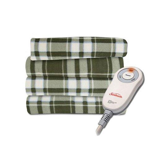 Sunbeam Microplush Electric Heated Throw Blanket Green Plaid front-233530