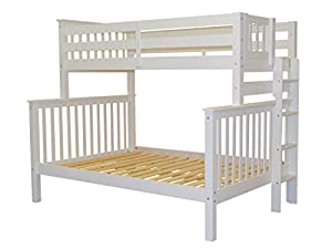 Bedz King Mission Style Twin Over Full Bunk Bed with End Ladder, White