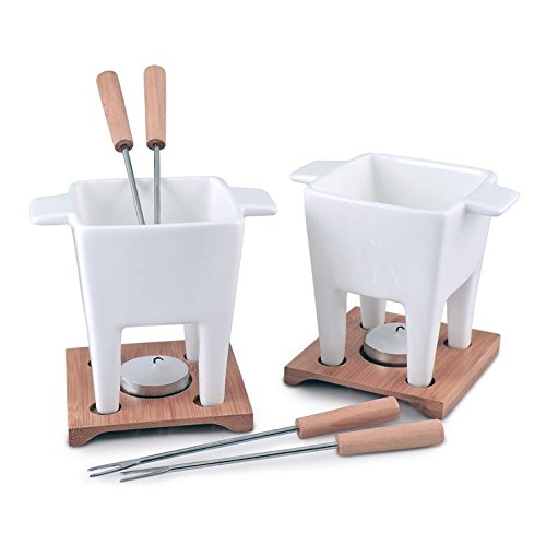 Swissmar 10 Piece Duet II Dual Fondue and Butter Warmer Set, White