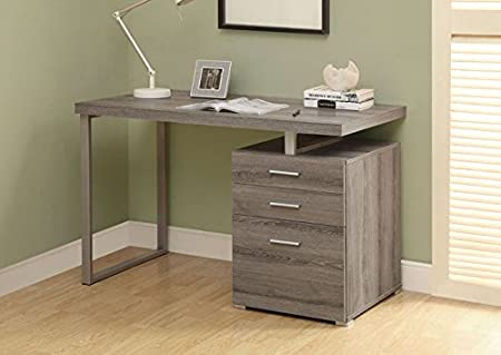 """DARK TAUPE RECLAIMED-LOOK LEFT OR RIGHT FACING 48""""L DESK (SIZE: 48L X 24W X 30H)"""