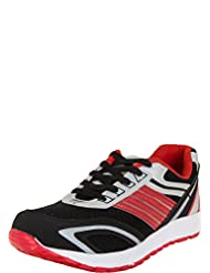 Zovi Men's Synthetic Black And Red Sports Shoes With Grey Accents (11203100701)