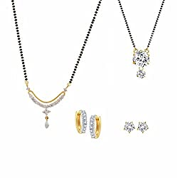 Archi Collection Combo of 2 CZ Mangalsutra, 2 Pair of Stud Earrings