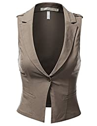 J.TOMSON Womens Basic Dressy Vest MOCHA MEDIUM