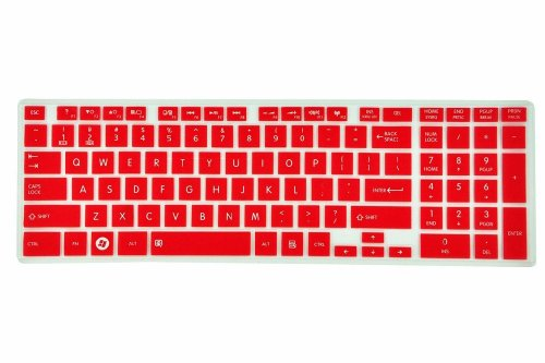 Colorful Semitransparent Silicone Keyboard Cover Skin Protector For Toshiba Satellite C850 C855 C855D C870 C875 C875D (Red)