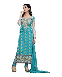 Maruti Suit Women's Viscose Suit Material (M1001, Blue, Free Size)