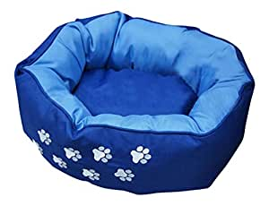 BUNNY BUSINESS Teflon Dog Donut Pet Bed Soft and Warm Cat/ Dog Cushions and Beds, Small, Blue