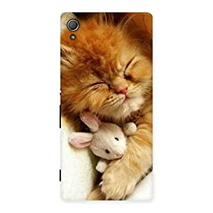 Special Sleeping Cat with Bunny Multicolor Back Case Cover for Xperia Z3 Plus