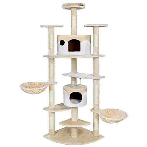 TecTake® Katzen Kratzbaum Duki beige-weiß mit XXL Liegemulde 36cm Durchmesser