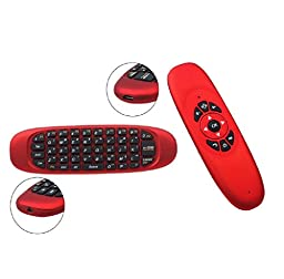 AMA(TM) Mini 2.4G Wireless Keyboard Double Sided Air Mouse Sensor USB 2.0 Remote Controll up to 10 m for PC Smart TV Android TV Box (Red )