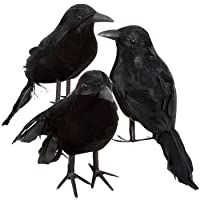 Black Feathered Small Halloween Crows - 3 Pc Black Birds by craftsurplus