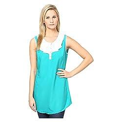 Kaxiaa Cotton Green Top For Women (Size-Medium)