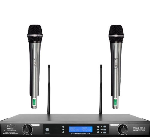 Awisco Uhf Wh822U 2-Channel 64 Selectable Frequency Handheld Wireless Microphone