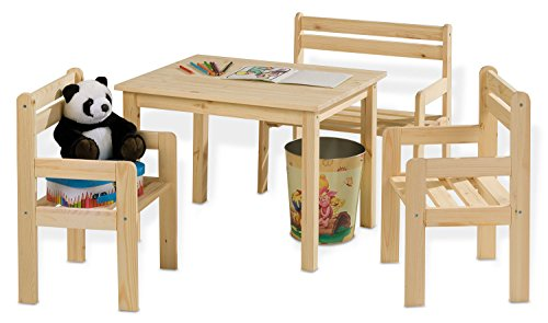 kindersitzgruppe kindertischgruppe kai holz kiefer massiv mit tisch 2 st hlen sitzbank. Black Bedroom Furniture Sets. Home Design Ideas