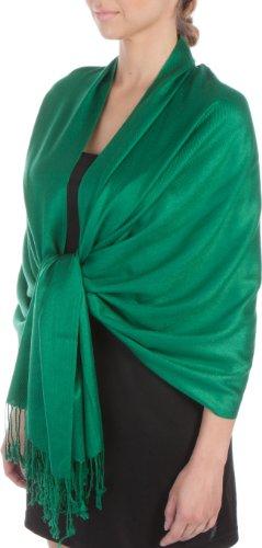Sakkas Silky Solid Soft Pashmina Shawl Wrap Stole - Emerald Green