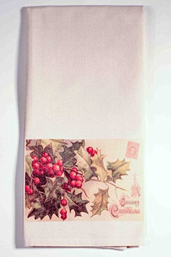 Kitchen Towels Tea Towels Vintage Merry Christmas 100% Cotton Pack Of One Printed In Usa