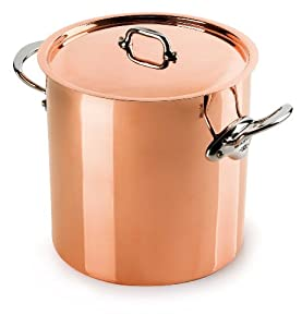 Mauviel M'Heritage Copper 150s 6132.25 11.7-Quart Stock Pot with Tin Interior and cast Stainless Steel Handle