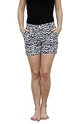 LEBE Blue Cotton Comfortable Shorts for Women