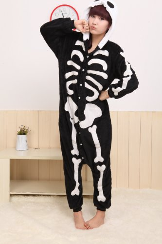 Sp Mall Black Skeleton Pajamas Adult Anime Cosplay Halloween Costume (X-large)