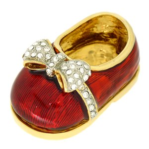 24k Gold-Plated Swarovski Crystal Red Baby Shoe Keepsake Box