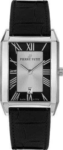 Pierre Petit P-779A - Reloj analógico de cuarzo para mujer con correa de piel, color negro