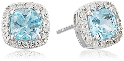 Rhodium-Plated-Sterling-Silver-Gemstone-and-Round-Created-White-Sapphire-Halo-Cushion-Stud-Earrings