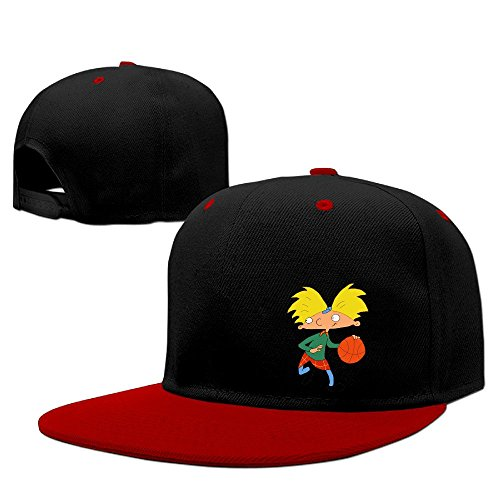 hey-arnold-unisex-100-cotton-red-adjustable-snapback-baseball-caps-one-size