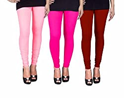 C&S Shopping Gallery Peach,Pink And Maroon Cotton Lycra Legging Pack Of 3