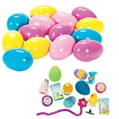 24 Toy Filled Easter Eggs . Eggs Measure 2.5 Inches Filled with Easter Toys Whistles Tattoos Easter Stickers and More... (Bulk 24 Pack Great for School Easter Egg Hunt) By Easter - 1