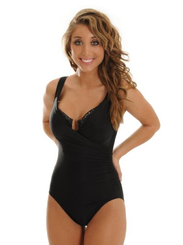 Women%27s+Black+Miraclesuit+1+Piece+SwimSuit+Underwire+Sequin+Trim+Slimming+Swimwear+Talle+Retails+%24140+Size+10+Sizes%3A+14