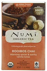 Numi Organic Tea Ruby Chai, Spiced Rooibos Herbal Teasan, 18-Count Tea Bags (Pack of 3) from Numi