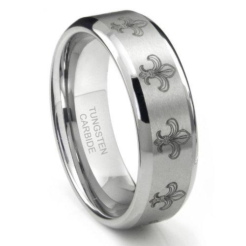 Tungsten Carbide Fleur De Lis Wedding Band Ring Sz 10.0