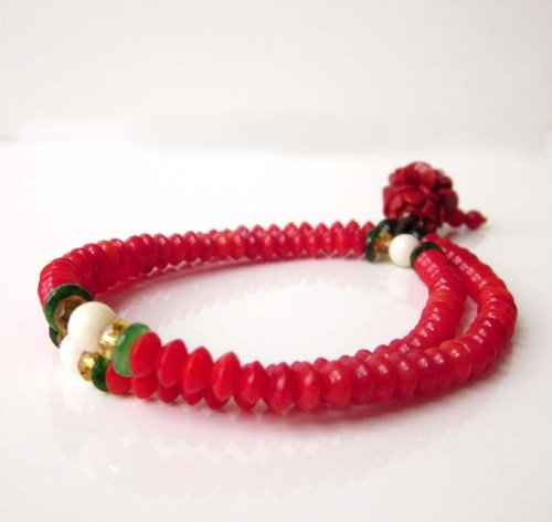 108 Red Coral Beads Wrist Bracelet Mala with Flower Pendant