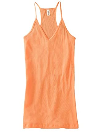 Bella Ladies Janet 2x1 Sheer Rib V-neck Racerback Tank, orange sorbet, Small