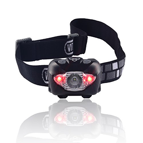 Vitchelo V800 Waterproof Headlamp Flashlight with Red LED -