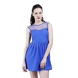Altamoss Netted Blue Women's Dress (Size-S)