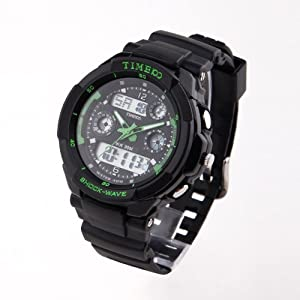 TIME100 Dual-time Multifunction Green Bezel Sport Electronic Watch #W40017M.04A