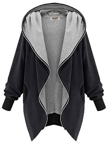 DJT Women Country Estate Clothing Zip Up Hoodie Sweatshirt Cardigan Jacket Coat Black Size XXL