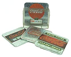 Coca Cola Coke Tin Coaster Set in Chrome Caddy - 4 Different Coasters