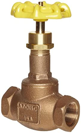 Apollo 120T Series Bronze Globe Valve, Class 125, Inline, Threaded Bonnet, PTFE Seat, NPT Female