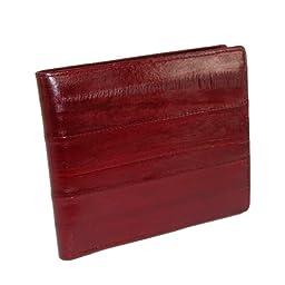 MJ Masters Mens Eel Skin Flip Fold ID Wallet, Burgundy