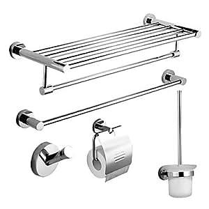 Accessori da bagno Set, Moderno 5 pezzi Chrome Stainless Steel Hardware Set A...