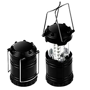 BOGZON Portable Camping Lantern Flashlights with 30 LED Bulbs - Restractable & Lightweight & Water Resistant Camping Light, Great for Hiking & Camping & Emergencies & Travel, Set of 2, Black