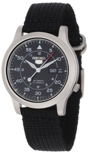 Seiko Men's SNK809 Seiko 5 Automatic Black Canvas Strap Watch