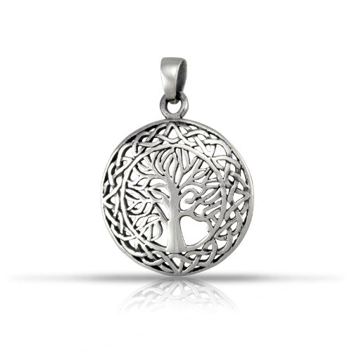 WithLoveSilver Solid Sterling Silver 925 Celtic Round Cut Out Tree of Life Pendant