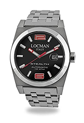 Locman Stealth Men``s 020500bknrd0br0 Stainless St