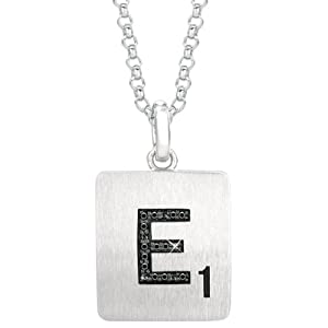 Sterling Silver .05 CTW Black Diamond Letter